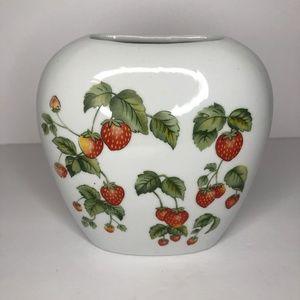 Vintage Porcelain Strawberry Flower Vase
